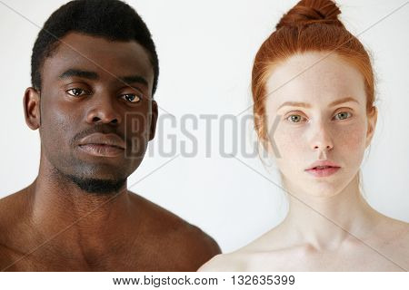 Love Against Racism. Black And White. Coffee And Milk. Headshot Of Young Loving Multi-ethnic Couple