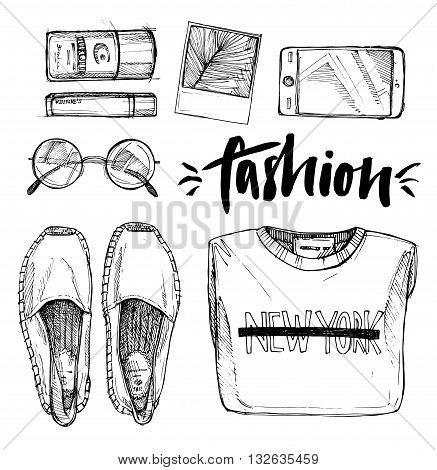 Hand drawn vector illustration - fashion accessories. Set of stylish ctother. Set of trendy look. Isolated elements on white background