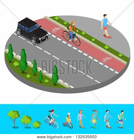Isometric City. Bike Path with Bicyclist and Footpath with Walking Man. Vector illustration