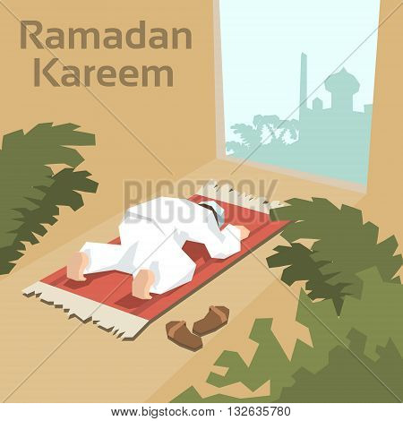 Muslim Man Pray On Carpet Ramadan Kareem Mosque Religion Holy Month Vector Illustration
