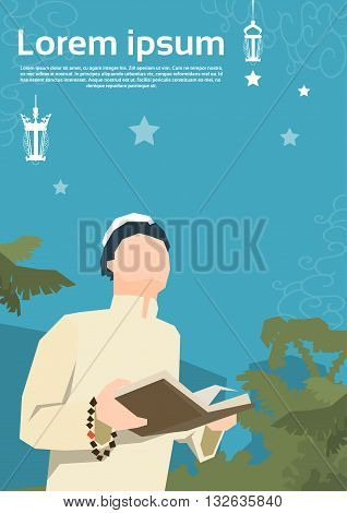 Muslim Man Pray Open Koran Ramadan Kareem Religion Holy Month Vector Illustration