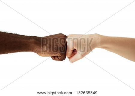 Black African American Man Touching Knuckles With White Caucasian Woman In Agreement, Partnership An