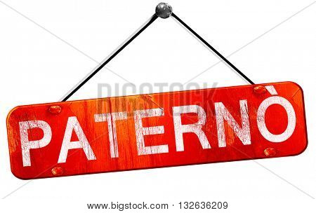 Paterno, 3D rendering, a red hanging sign