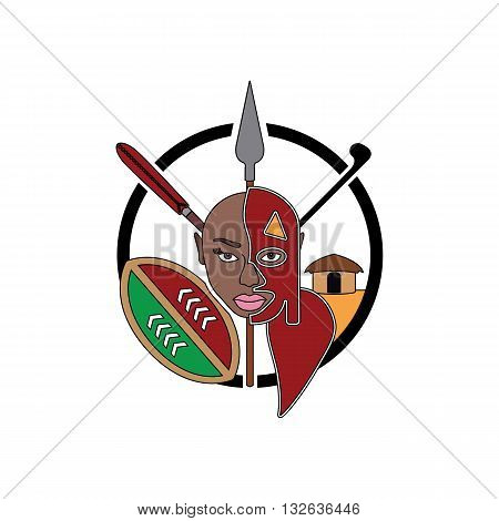 Beautiful creative maasai tribe sign with girl wearing mask weapons and willage in the backgorund inside circle vector illustration isolated on white backgorund.