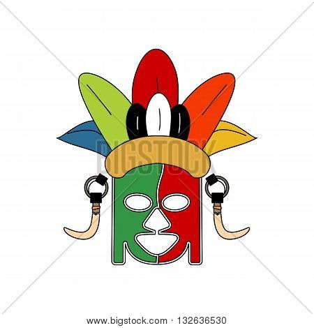 Abstract stylized colorful tribe ceremonial mask with decorative elements vector illustration isolated on white background.