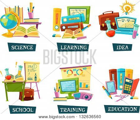 Modern and traditional school training educational materials supplies for classrooms 6 flat compositions set abstract vector illustration