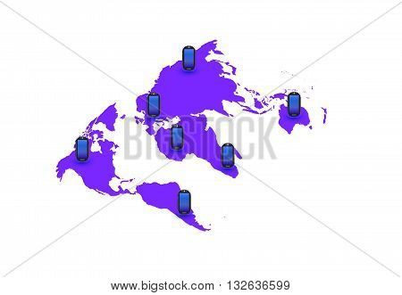 earth map with pointers Phones,planet, pointer, science, sign, south, surface,