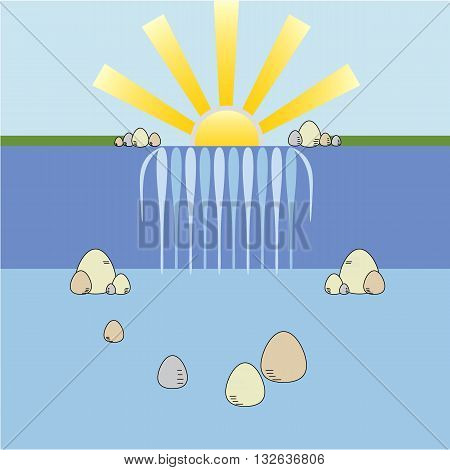 Cartoon style waterfall background with sun landscape and stones vector illustration isolated on white background.