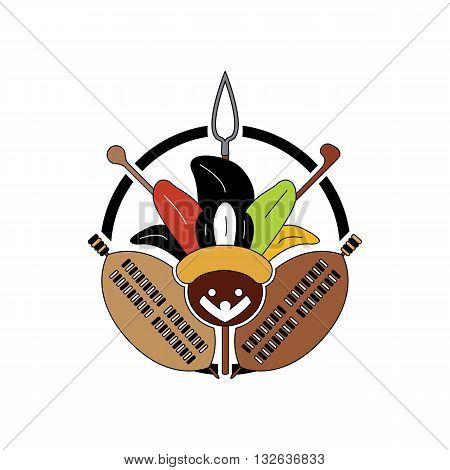 Beautiful colorful zulu tribe sign with mascot and weapons inside circle vector illustration isolated on white background.
