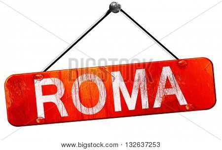 Roma, 3D rendering, a red hanging sign