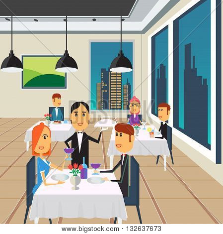 People in Restaurant. Happy Couple on Dinner. Vector illustration