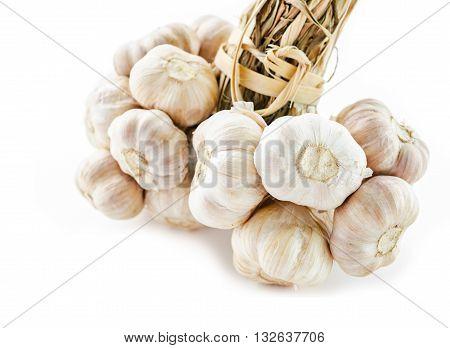 Close up bundle of garlic on white background.