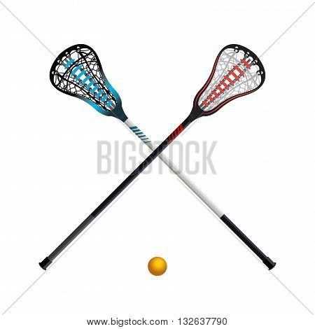 Isolated Lacrosse Sticks And Ball