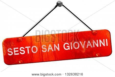 Sesto san giovanni, 3D rendering, a red hanging sign