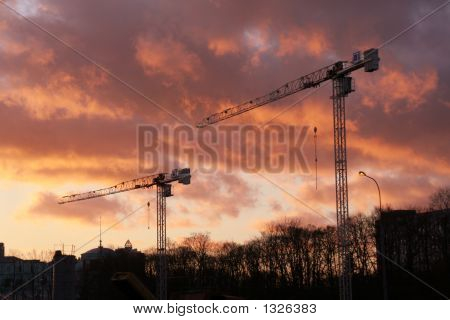 Two Crane Towers (Sunset)