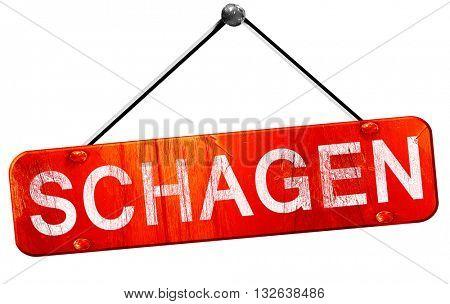 Schagen, 3D rendering, a red hanging sign