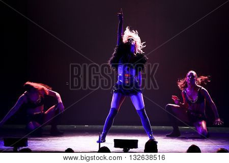 NEW YORK-JUL 9: Julianne Hough (C) performs on stage during the Move Live On Tour at Radio City Music Hall on July 9, 2015 in New York City.