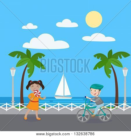 Girl with Lollipop. Boy on Bicycle. Vector illustration