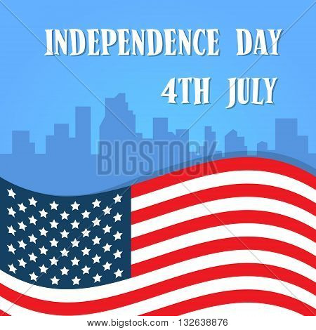 Independence Day United States Flag Over City View American Holiday Banner Vector Illustration