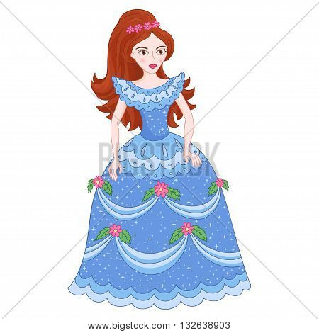 Illustration of beautiful brunette princess, cute princess in shine blue dress with spangles, vector illustration