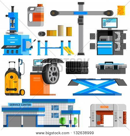 Auto service flat decorative icons set with equipment for repair computer diagnostics and technical inspection isolated vector illustration