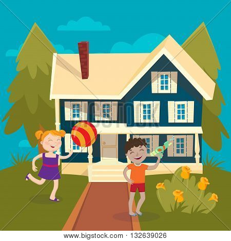 Happy Girl Playing Ball near the House. Boy Playing Water Gun. Vector illustration
