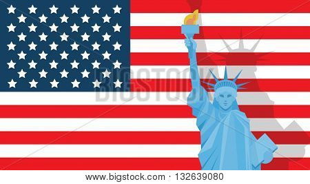 Liberty Statue Over United States Flag Independence Day Holiday Banner Vector Illustration