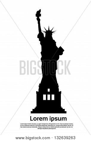Liberty Statue Silhouette United States Symbol Vector Illustration
