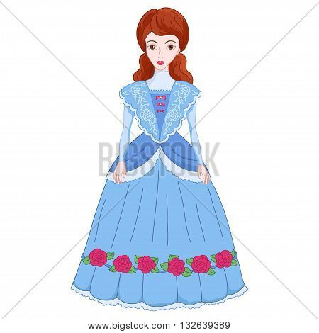 Illustration of beautiful brunette noblewoman in ancient dress 19 of a century, cute lady in elegant cyan attire or princess on walk, vector illustration