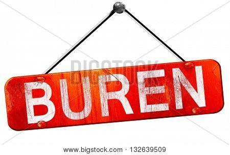 Buren, 3D rendering, a red hanging sign