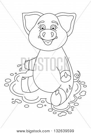 Vector illustration of cute pig in a puddle, funny piggy sits on water puddle, coloring book page for children