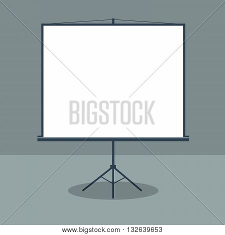 Boardroom with Standing White Board for Business Presentation. Vector illustration