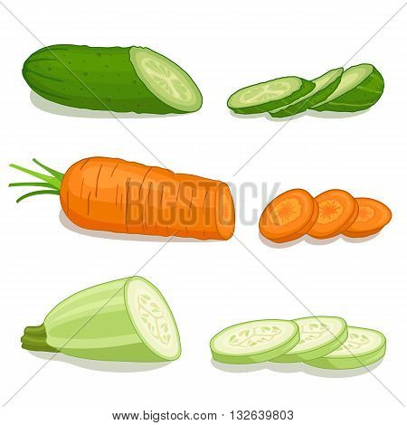 Set chopped vegetables isolated on white background. Vector illustration. Cut circles of cucumber carrot zucchini.
