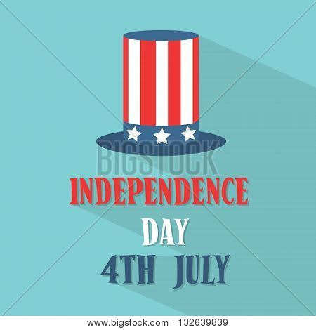 United States Flag Cylinder Hat American Independence Day Flat Vector Illustration