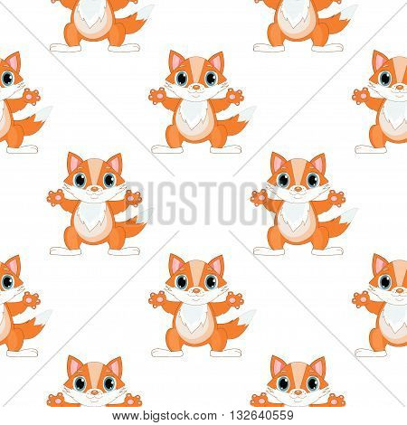 Fox seamless pattern, cute fox vector background design for fabric and decor. Fox baby seamless pattern and cute fox animal baby seamless pattern. Cartoon fox seamless pattern, baby pattern textile.