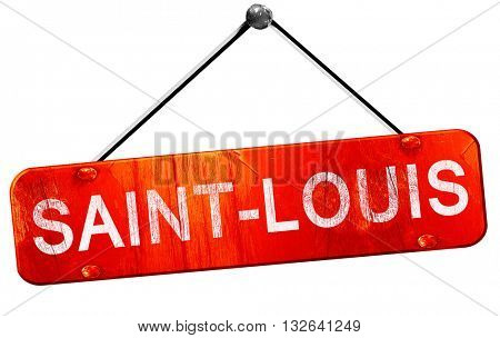 saint-louis, 3D rendering, a red hanging sign