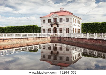 SAINT PETERSBURG, RUSSIA -JUNE 02, 2016: Marly Palace in the Lower Gardens of Peterhof (near St. Petersburg). It was built in 1720-1723 by the architect Johann Braunstein