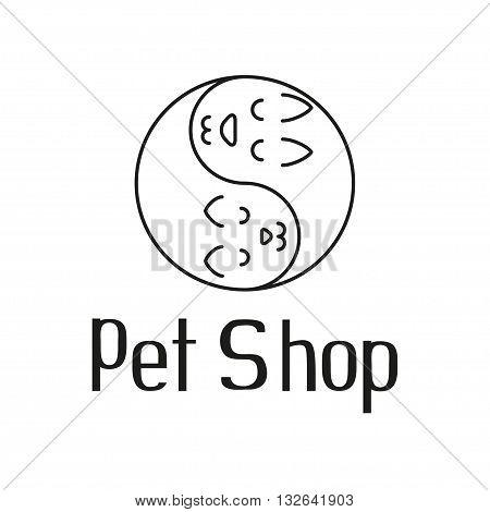 Cat and dog tender embrace like Yin Yang, sign for pet shop logo, vector illustration