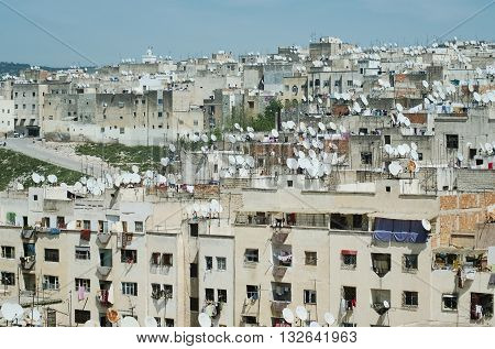 Sattelite dishes on rooftops of houses in old town of Fes El Bali, Old Medina & UNESCO World Heritage Site