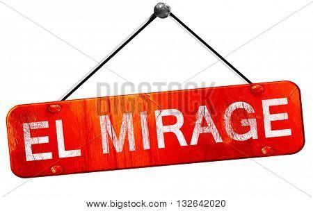 el mirage, 3D rendering, a red hanging sign