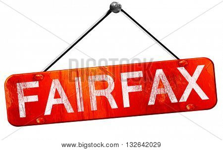 fairfax, 3D rendering, a red hanging sign