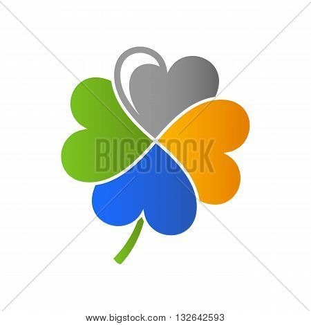 Beautiful stylized colorful flower clover with four leaves vecotr illustration isolated on white background.