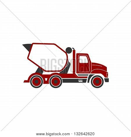 Concrete mixer or cement mixer truck line drawing icon vector illustration isolated on white backgorund.