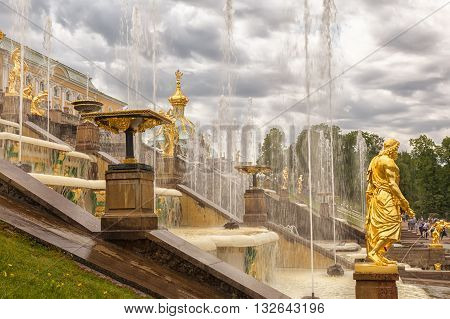 ST. PETERSBURG, RUSSIA -JUNE 02, 2016: Grand Cascade Fountains at Peterhof, near Saint Petersburg. Fountains of Peterhof are one of Russia's most famous tourist attractions