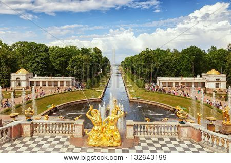 ST. PETERSBURG, RUSSIA -JUNE 02, 2016: Fountains of Lower Gardens, the Sea Canal  in Peterhof, near Saint Petersburg. Fountains of Peterhof are one of Russia's most famous tourist attractions