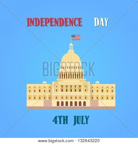 Capitol Building United States Of America Senate House Independence Day Banner Vector Illustration