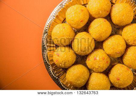 indian sweets bundi laddu or motichur laddu or motichoor laddu, selective focus