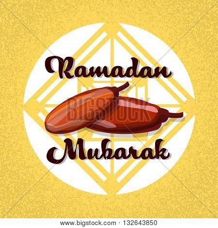 Dry Date Fruit Ramadan Mubarak Islamic Holy Month Vector Illustration