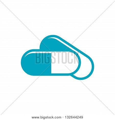 Blue stylized pills vector illustration isolated on white background.