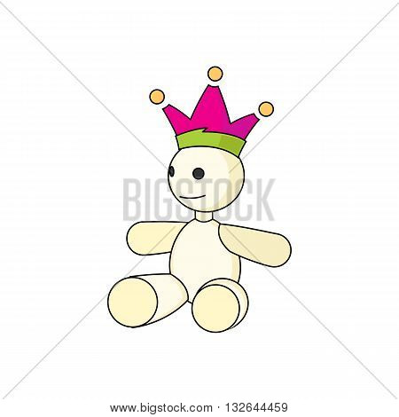 Cartoon style wild card mascot with crown vector illustration isolated on white backgorund.